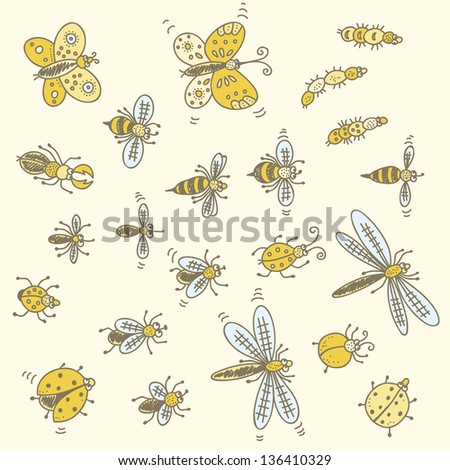 Cartoon bugs set isolated on a white background - stock vector