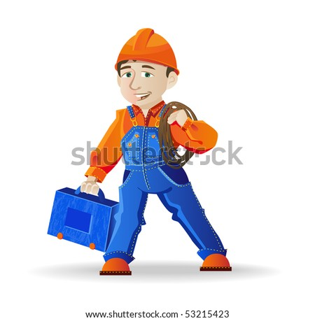 Cartoon builder, a man in a helmet and tools, vector illustration - stock vector