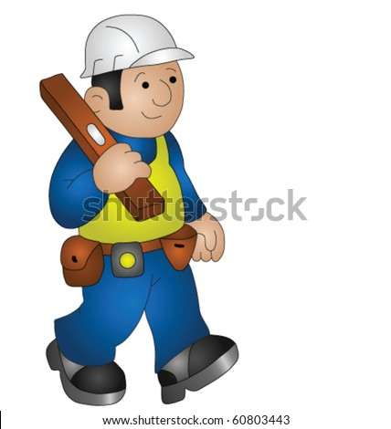 Cartoon builder wearing personal protection equipment for health and safety - stock vector