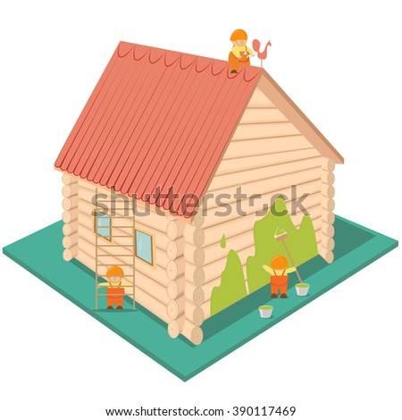 Cartoon builders are renovating and painting the house with a red roof. Isometric vector - stock vector