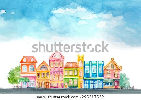 Cartoon buildings. Little carton town. Vector watercolor. - stock vector