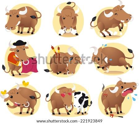 Cartoon Bull action set, with bull in different situations like standing bull, in love bull, bull with birds, bull and cow, in love bull and shouting bull vector illustration.  - stock vector