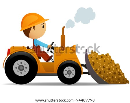 Cartoon bulldozer at construction work with worker driver. Vector illustration. - stock vector