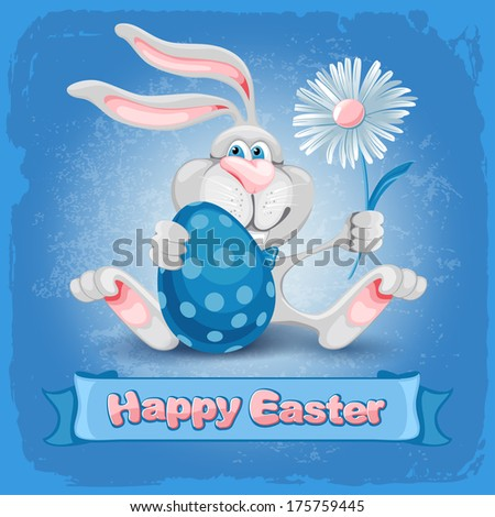Cartoon bunny holding Easter egg and spring flowers and wishes you a Happy Easter - stock vector