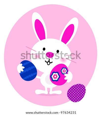 Cartoon Bunny with easter Eggs isolated on white - stock vector