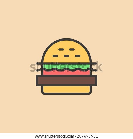 Cartoon burger, with bread, salad, ketchup, cutlet. Minimal style. Design element, for flyer, brochure, card, poster, menu. Easy to edit. Vector illustration - EPS10. - stock vector