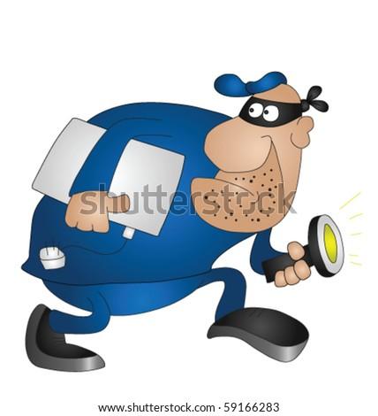 Cartoon burglar isolated on white background - stock vector