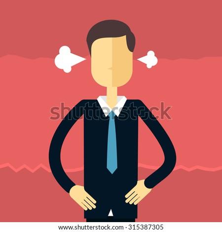 Cartoon business angry guy - stock vector