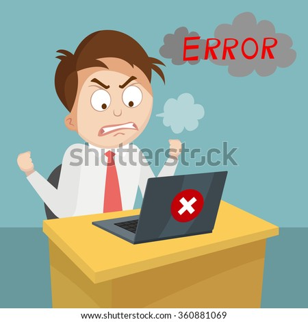 cartoon business man angry with laptop computer stress fail and technology concept, vector, illustration - stock vector