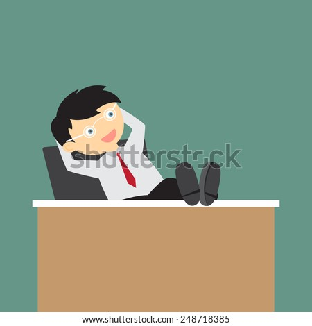 Cartoon business man sitting relaxed with his feet on the desk and hands behind the head, vector illustration. - stock vector