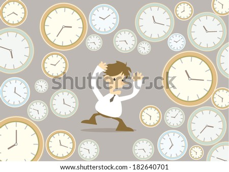 Cartoon Business man with clock, time pressure concept  - stock vector