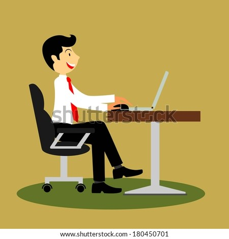 Cartoon business man working with laptop on the deck  - stock vector