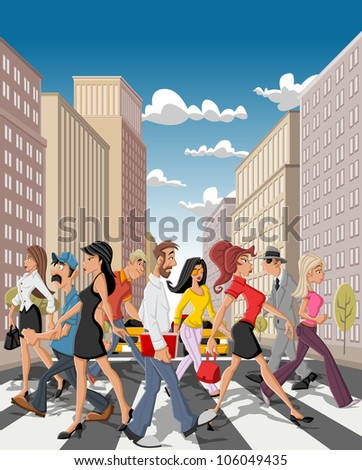Cartoon business people crossing a downtown street in the city with tall buildings - stock vector
