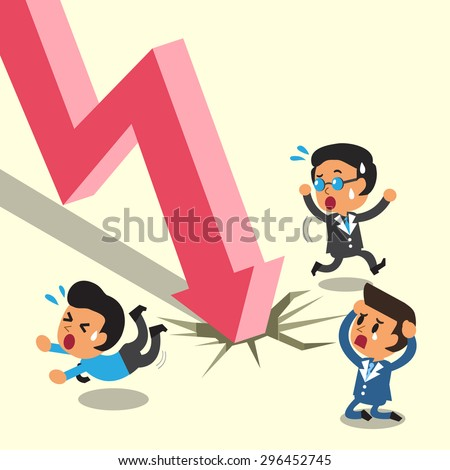 Cartoon business people escape from stock market arrow  - stock vector