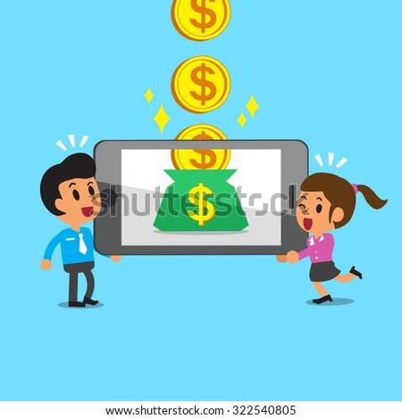 Cartoon business team earning money with smartphone - stock vector