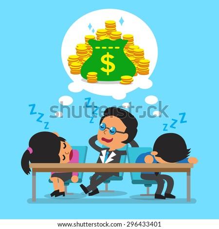 Cartoon business team falling asleep and dream about money - stock vector