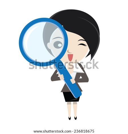 Cartoon business woman analyse with big magnifier glass. vector design illustration. - stock vector