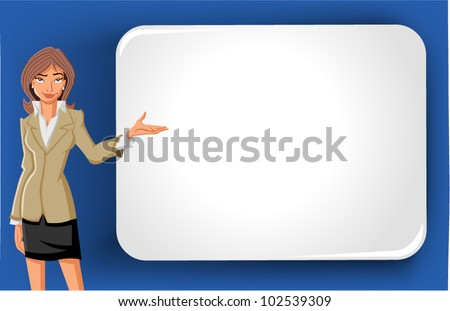Cartoon business woman and white billboard with empty space. Presentation screen. - stock vector