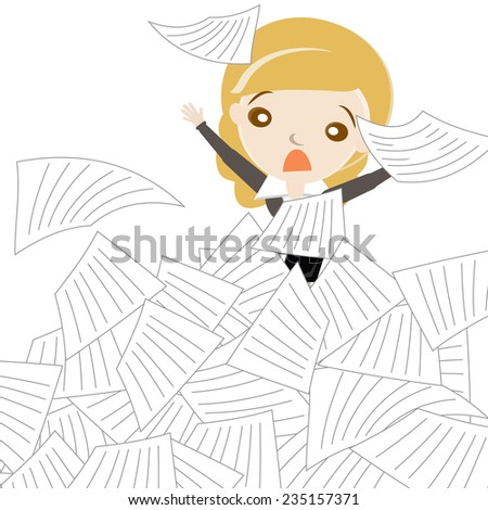 Cartoon business woman sinking in overload of paper works. vector design illustration. - stock vector