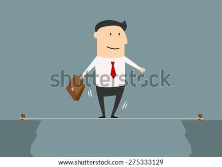 Cartoon businessman balancing on a tightrope stretched between two cliffs in a risk taking concept - stock vector