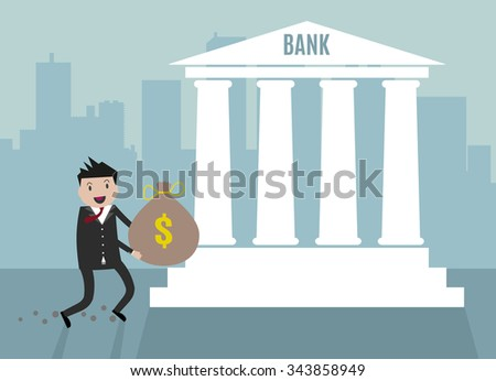 Cartoon Businessman carry his money bag into bank. vector illustration in flat design on blue city scape background, financial investment - stock vector
