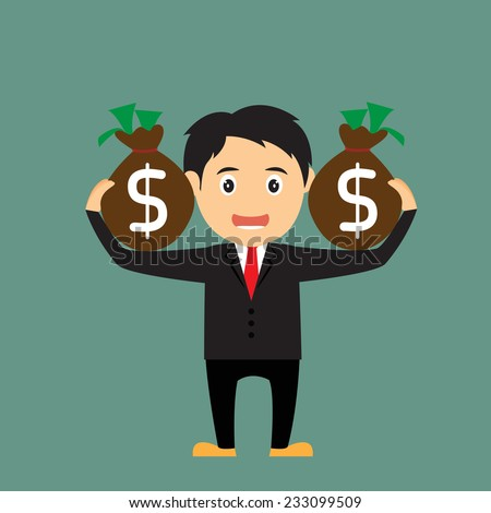 Cartoon businessman carrying the bag of money, vector illustration.