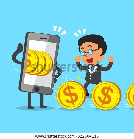 Cartoon businessman earning money with smartphone - stock vector