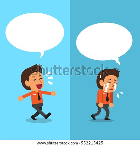 Cartoon businessman expressing different emotions with white speech bubbles