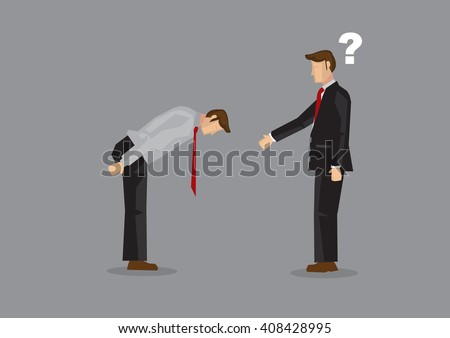 Cartoon businessman extend arm for handshake but was greeted by a full bow. Vector illustration on confusion from cultural diversity in businesses concept isolated on grey background - stock vector