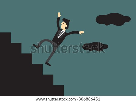 Cartoon businessman falling down the steps of staircase in outdoor setting. Creative vector illustration for business concept.