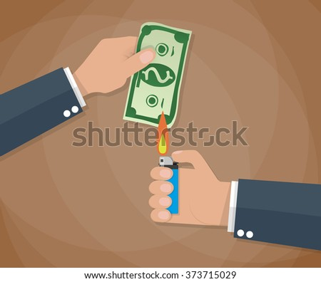 Cartoon businessman hand holding money bill and another hand holding lighter. vector illustration in flat design on brown background - stock vector