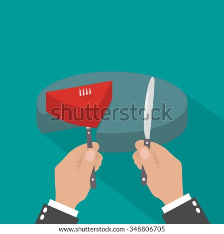 Cartoon businessman hands with knife and fork cut chart pie peace. vector illustration in flat design. financials - stock vector