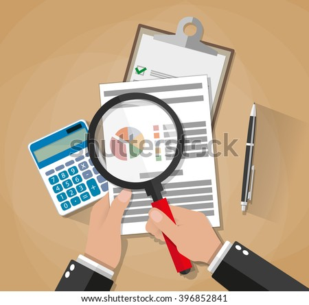 Cartoon businessman hands with magnifier analysis paper sheet, calculator, pen. auditing tax, financial market analysis, seo, financial report. vector illustration in flat design on brown background - stock vector