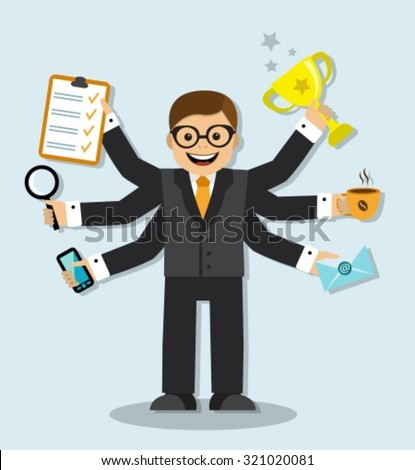 Cartoon businessman has 6 arms and manages to do all the work of the case - stock vector