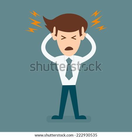 cartoon businessman headache - stock vector
