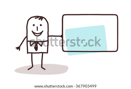 cartoon businessman holding a blank card