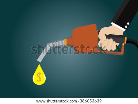Cartoon, Businessman holding a fuel nozzle., vector eps10 - stock vector