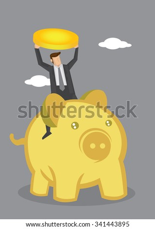 Cartoon businessman holding up a gold coin and riding on a cute golden pig. Creative vector illustration on money and wealth concept.  - stock vector