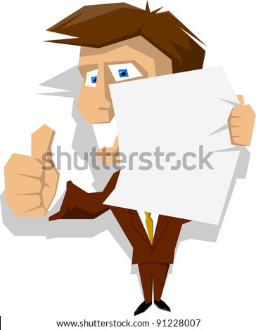 Cartoon businessman in suit holding blank paper with thumbs up gesture congratulating for good job. Easy editable vector illustration. One in the series of similar straight line character. - stock vector