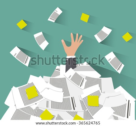 Cartoon Businessman need help under a lot of documents. Overwork concept. vector illustration in flat design on green background - stock vector
