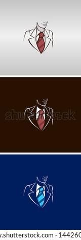 cartoon businessman or lawyer icon set. Fully Editable vector illustration. - stock vector