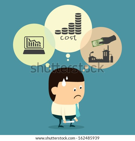 Cartoon Businessman, Result of Business Operation and the Operation failed - stock vector
