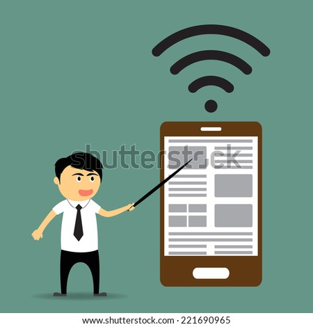 Cartoon businessman showing big smartphone and presenting and advertising on its vector illustration. - stock vector
