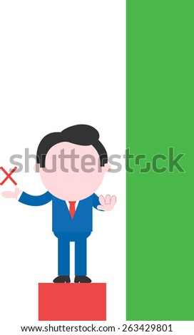 Cartoon businessman showing x gesturing stop on low red bar beside tall green bar - stock vector