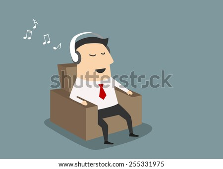 Cartoon businessman sitting on a brown chair and listening music through headset - stock vector