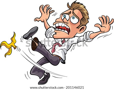 Cartoon businessman slipping on a banana peel. Isolated - stock vector