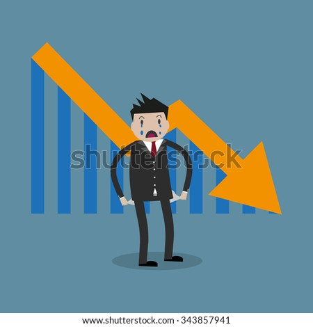 cartoon businessman standing with empty pockets. Arrow pointing downward. Loser, broke concept. vector illustration in flat design on blue background - stock vector
