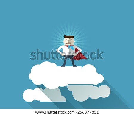 Cartoon businessman Superhero with a red cape on cloud, vector  illustration , flat design - stock vector