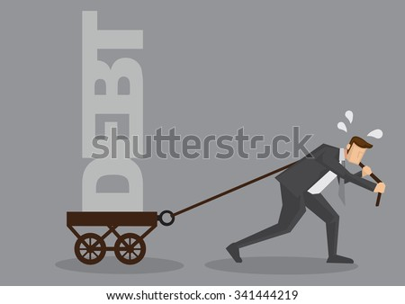 Cartoon businessman sweating and pulling a cart with text Debt on it. Creative vector illustration on financial obligation as heavy burden concept isolated on grey background. - stock vector