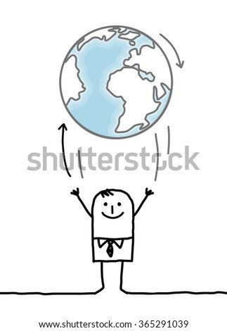 cartoon businessman throwing up the Earth - stock vector